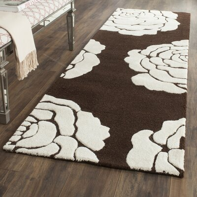 Martins Brown/Ivory Area Rug Rug Size: Runner 26 x 8