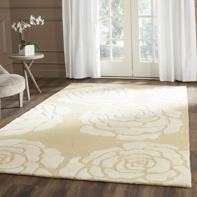 Martins Light Gold/Ivory Area Rug Rug Size: Rectangle 6 x 9
