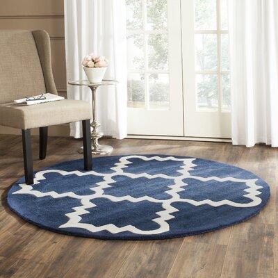 Wilkin Dark Blue / Ivory Area Rug Rug Size: Round 5