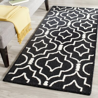 Martins Black / Ivory Area Rug Rug Size: Runner 2'6