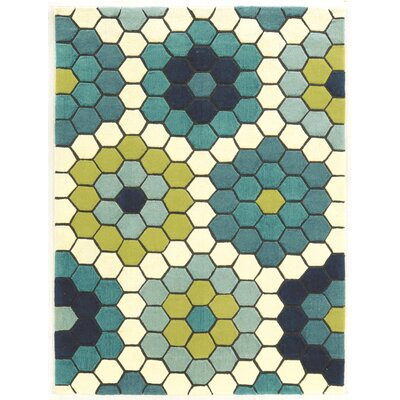 Scheidt Hand-Tufted Blue/Green Outdoor Area Rug Rug Size: 110 x 210