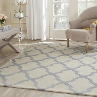 Charlenne Hand-Tufted Ivory/Gray Area Rug Rug Size: Rectangle 6 x 9