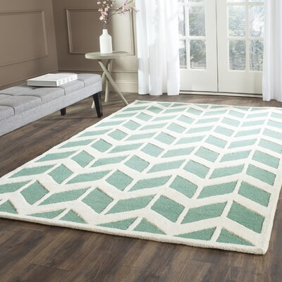 Martins Teal/Ivory Area Rug Rug Size: Rectangle 4 x 6