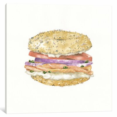 Lox Bagel Painting Print on Wrapped Canvas