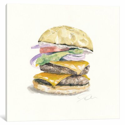 Cheeseburger Painting Print on Wrapped Canvas