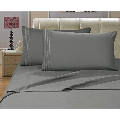 Riam Split King 1500 Thread Count Sheet Set Color: Gray