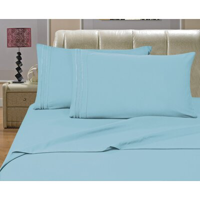 Riam Split King 1500 Thread Count Sheet Set Color: Aqua
