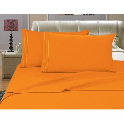Riam Split King 1500 Thread Count Sheet Set Color: Orange