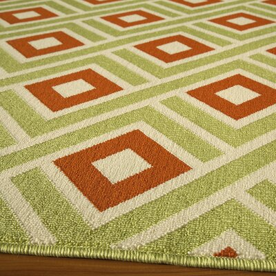 Wexler Hand-Woven Green/Rust Indoor/Outdoor Area Rug Rug Size: 53 x 76