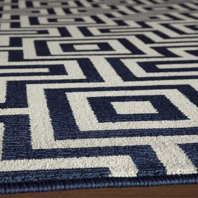 Wexler Hand-Woven Blue/Beige Indoor/Outdoor Area Rug Rug Size: 67 x 96