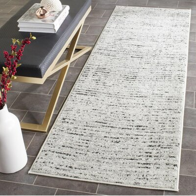Seaport Gray & Black Area Rug Rug Size: Runner 26 x 12