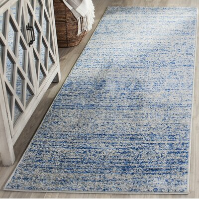 Seaport Blue/Gray Area Rug Rug Size: Runner 26 x 22