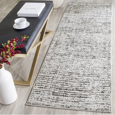Seaport Black/Beige Area Rug Rug Size: Runner 26 x 16