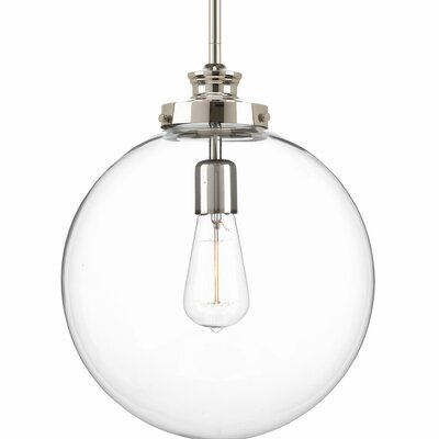 Cayden Metal 1-Light Globe Pendant Base Finish: Polished Nickel