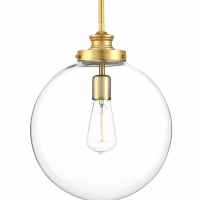 Cayden Metal 1-Light Globe Pendant Base Finish: Natural Brass
