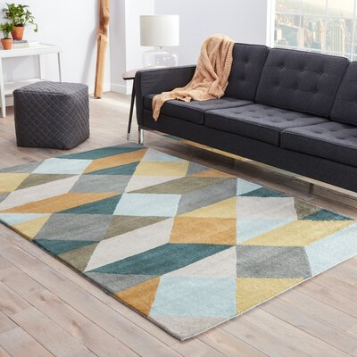 Benson Gray/Yellow Geometric Area Rug Rug Size: 8 x 11