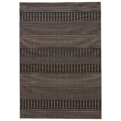 Honn Jet Black/Iron Indoor/Outdoor Area Rug Rug Size: 2 x 3