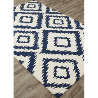 Throncliffe Hand-Hooked Ivory/Blue Indoor/Outdoor Area Rug Rug Size: 2 x 3