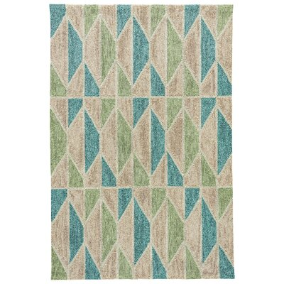 Throncliffe Tan/Teal Indoor/Outdoor Area Rug Rug Size: 76 x 96
