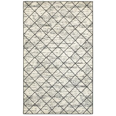 Tyrese Cream/Charcoal Area Rug Rug Size: 5'2