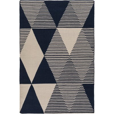 Buttrey Hand-Woven Blue/Neutral Area Rug Rug Size: Rectangle 5 x 76