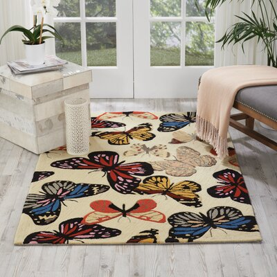 Railey Butterfly Area Rug Rug Size: 36 x 56
