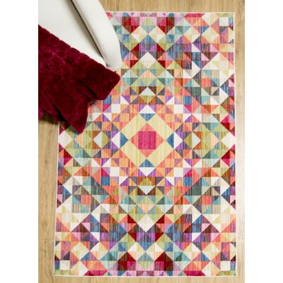 Marvine Blue/Red Area Rug Rug Size: 66 x 92