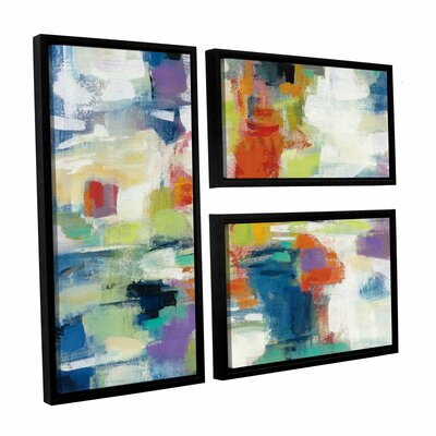Island Town 3 Piece Framed Painting Print on Canvas Set