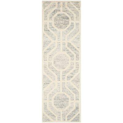 Medina Hand-Tufted Light Gray/Ivory Area Rug Rug Size: Runner 26 x 8