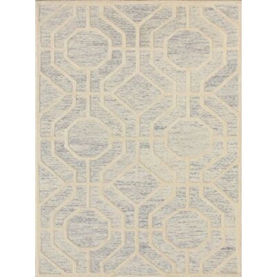 Medina Hand-Tufted Light Gray/Ivory Area Rug Rug Size: 4 x 6