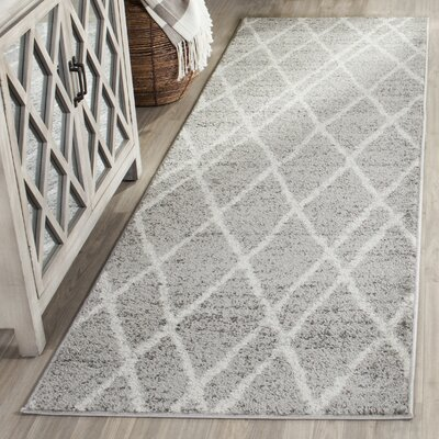 Seaport Gray/Ivory Area Rug Rug Size: Runner 26 x 8