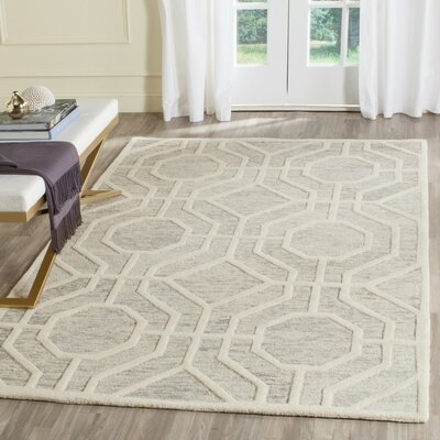 Medina Hand-Tufted Light Gray/Ivory Area Rug Rug Size: Rectangle 2 x 3