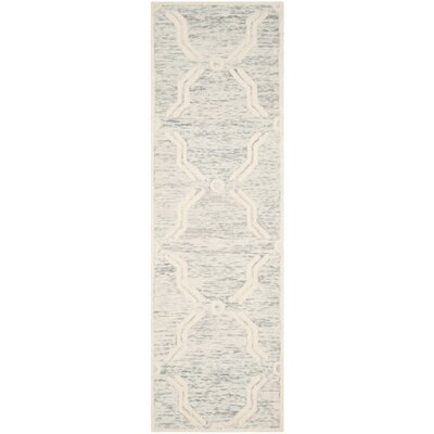Medina Hand-Tufted Light Gray/Ivory Area Rug Rug Size: Runner 26 x 8
