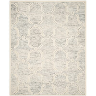 Medina Hand-Tufted Light Gray/Ivory Area Rug Rug Size: Rectangle 8' x 10'