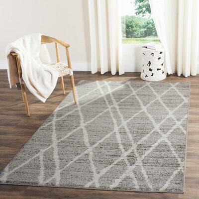 Seaport Gray/Ivory Area Rug Rug Size: Runner 26 x 12