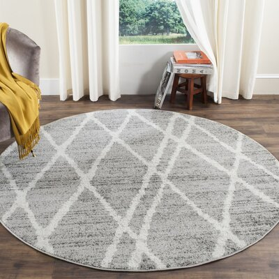 Seaport Gray/Ivory Area Rug Rug Size: Round 6