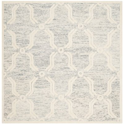 Medina Hand-Tufted Light Gray/Ivory Area Rug Rug Size: Square 6'