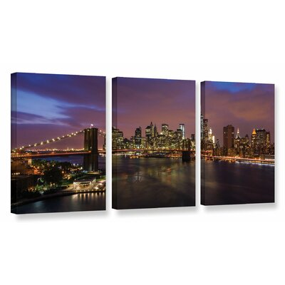 'NYC Skyline with Brooklyn Bridge Panoramic' by Cody York 3 Piece Photographic Print on Wrapped Canvas Set Size: 18