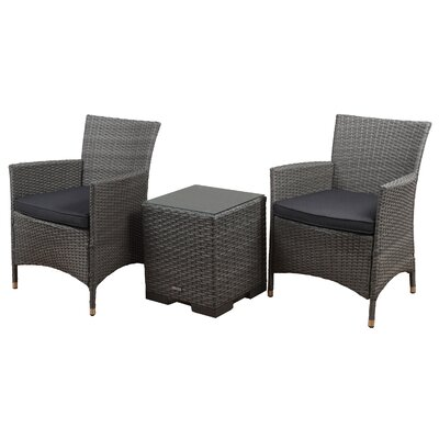 Bellfield 3 Piece Deep Seating Group with Cushion Finish: Gray, Fabric: Gray