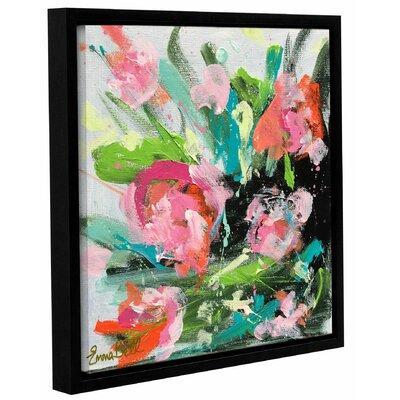 Pink Floral Burst 2 Framed Painting Print Size: 10