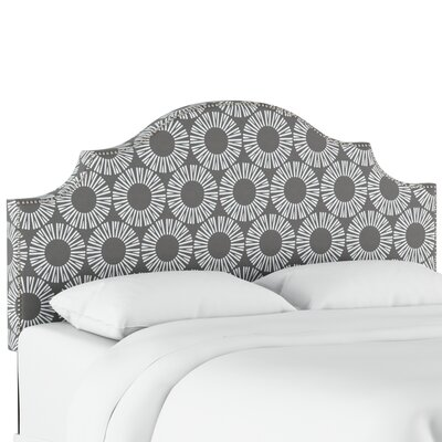 Edford Nail Button Notched Medallion Upholstered Panel Headboard Size: King