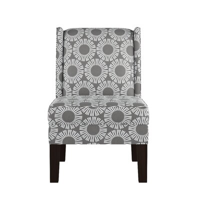 Wingback Chair Upholstery: Medallion Charcoal OGA
