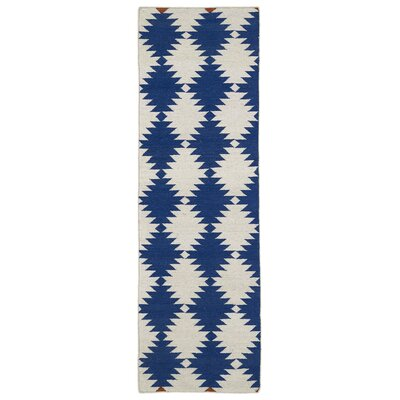 Marble Falls Navy Geometric Area Rug Rug Size: Runner 2'6