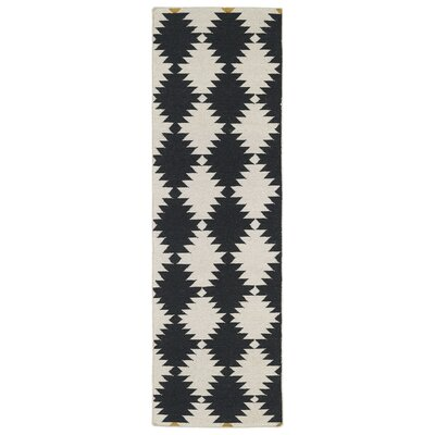 Marble Falls Black & Cream Geometric Area Rug Rug Size: Runner 26 x 8