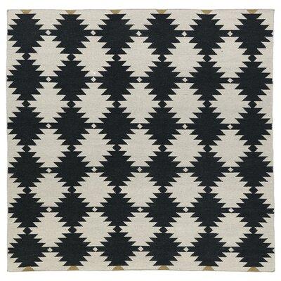 Marble Falls Black & Cream Geometric Area Rug Rug Size: Square 8