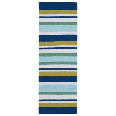 Staple Hill Hand-Tufted Stripe Blue Indoor/Outdoor Area Rug Rug Size: Runner 2 x 6
