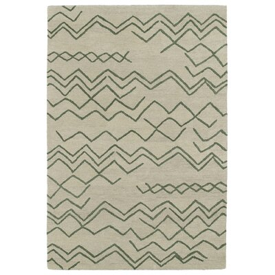 Zack Cream & Green Geometric Area Rug Rug Size: 4 x 6