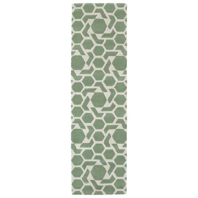 Fairlee Hand-Tufted Mint/Ivory Area Rug Rug Size: Runner 23 x 8