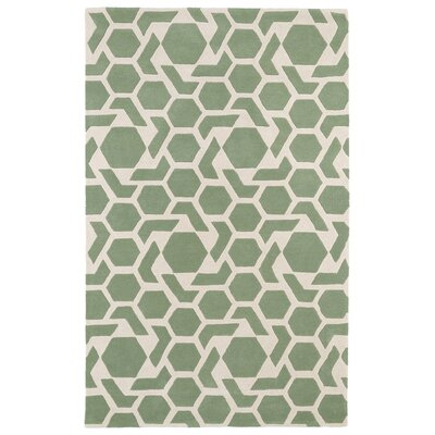 Fairlee Hand-Tufted Mint/Ivory Area Rug Rug Size: 5 x 79