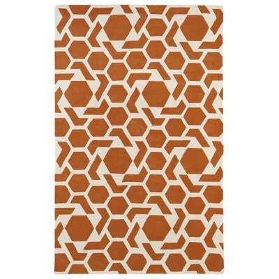 Fairlee Orange/White Area Rug Rug Size: Rectangle 8 x 11